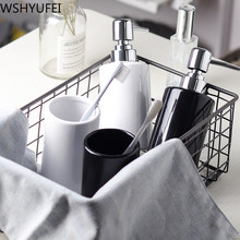 Fashion Black and white ceramic Mouth Cup Toothbrush Holder Lotion Bottle Toothpaste Bamboo Storage Board Nordic Bathroom Set(China)