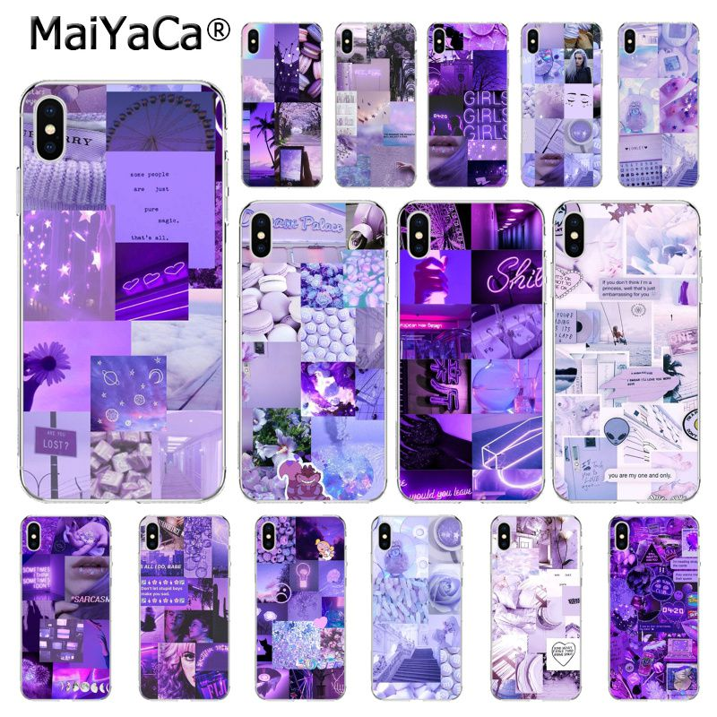 MaiYaCa Purple Love Aesthetic Art Girly Phone Cover For iphone 11 Pro 11Pro MAX 8 7 6 6S Plus 5 5S SE XR X XS MAX 10 Coque