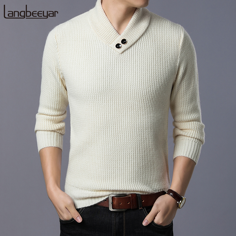 2019 Thick New Fashion Brand Sweater Men's Pullovers Slim Fit Jumpers Knitwear V Neck Winter Korean Style Casual Mens Clothes