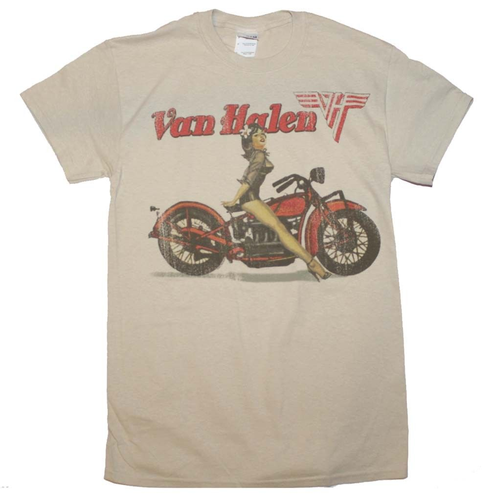 Van Halen Biker Pinup Tan T-Shirt Men's Officially Licensed Band Tee S-XL