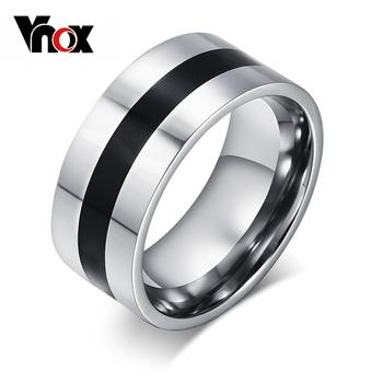 Vnox proste męskie pierścienie z czarną linią w środku akcesoria męskie ze stali nierdzewnej tanie i dobre opinie CN (pochodzenie) STAINLESS STEEL Mężczyźni Metal TRENDY Zespoły weselne ROUND Wszystko kompatybilny Other R-007 Brak