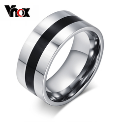 Vnox Simple Men's Rings with Black Line in The Middle Stainless Steel Male Boy Accessories