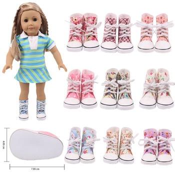 7*4Cm, 10 estilos, zapatos de muñeca para niña, botas de lona de alta calidad para mujer, 18 pulgadas, americano y 43Cm, juguete para regalo DIY ruso para niña