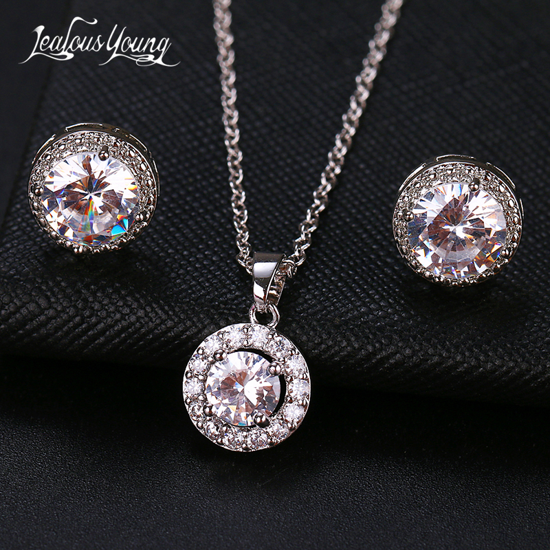 2020 Fashion Luxury Round Zircon Women Jewelry Sets with Silver Color Crystal Earrings and Necklace Weddings Set for Party