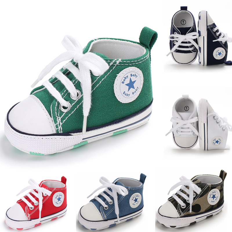 15 Colors Unisex Newborn First Walkers Crib Shoe White Soft Anti-Slip Sole  Toddler Casual Canvas Baby Infant Boy Girl Shoes
