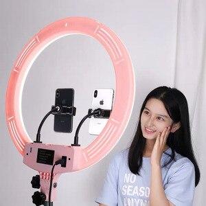 Anillo de luz para cámara de estudio de LED regulable de 18 pulgadas, lámpara de luz de Video para teléfono fotográfico con trípodes, palo Selfie, anillo de luz de relleno para Canon