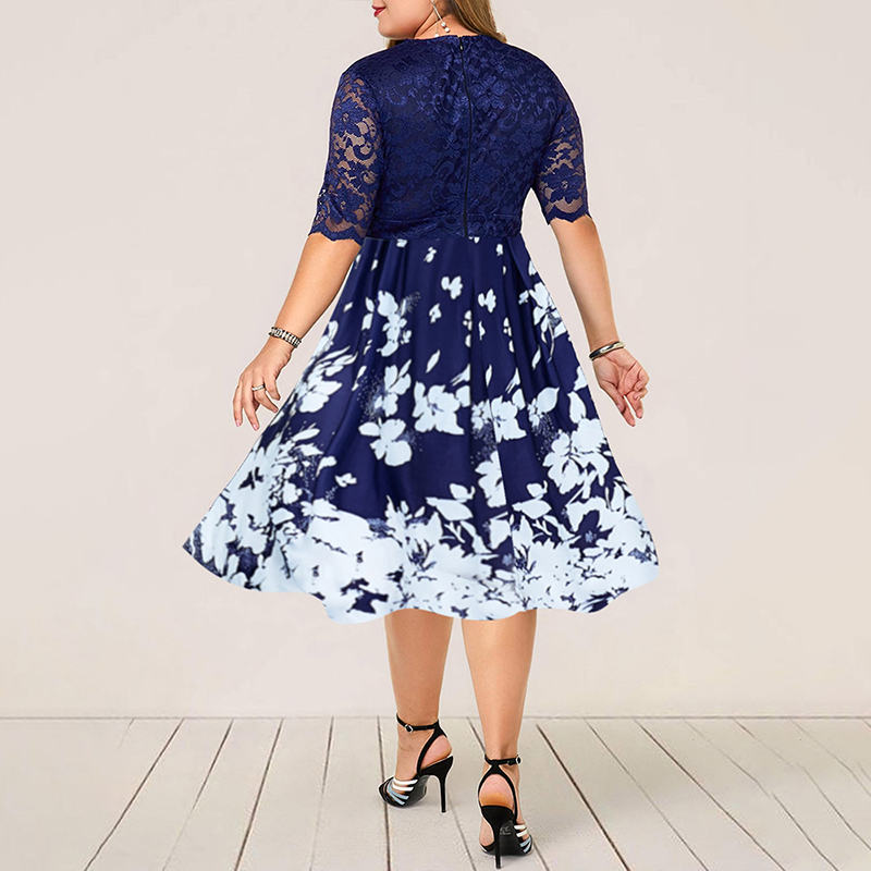 H1b79a06d91de43d4ba6f142e0fb1a165V - Plus Size Women Summer Dress Patchwork Flower Large Size Evening Party Lady Midi Dress Sexy Lace Calf Elegant Female Dress D25