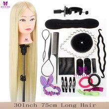 Cabeza de maniquí para peluquería, pelo de fibra sintética de alta temperatura, 100%, 30