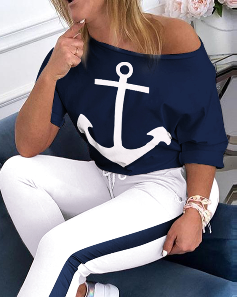 Conjunto abrigo feminino barco com âncora, conjunto