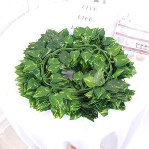 Искусственный венок из зеленых листьев Lvy, лестница из виноградной лозы, зеленые листья для семейного сада, свадьбы, «сделай сам», садовый ремесленный цветок