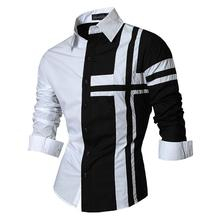 Jeansian Mens Dress Shirts Casual Stylish Long Sleeve Designer Button Down Slim Fit Z014 Black2