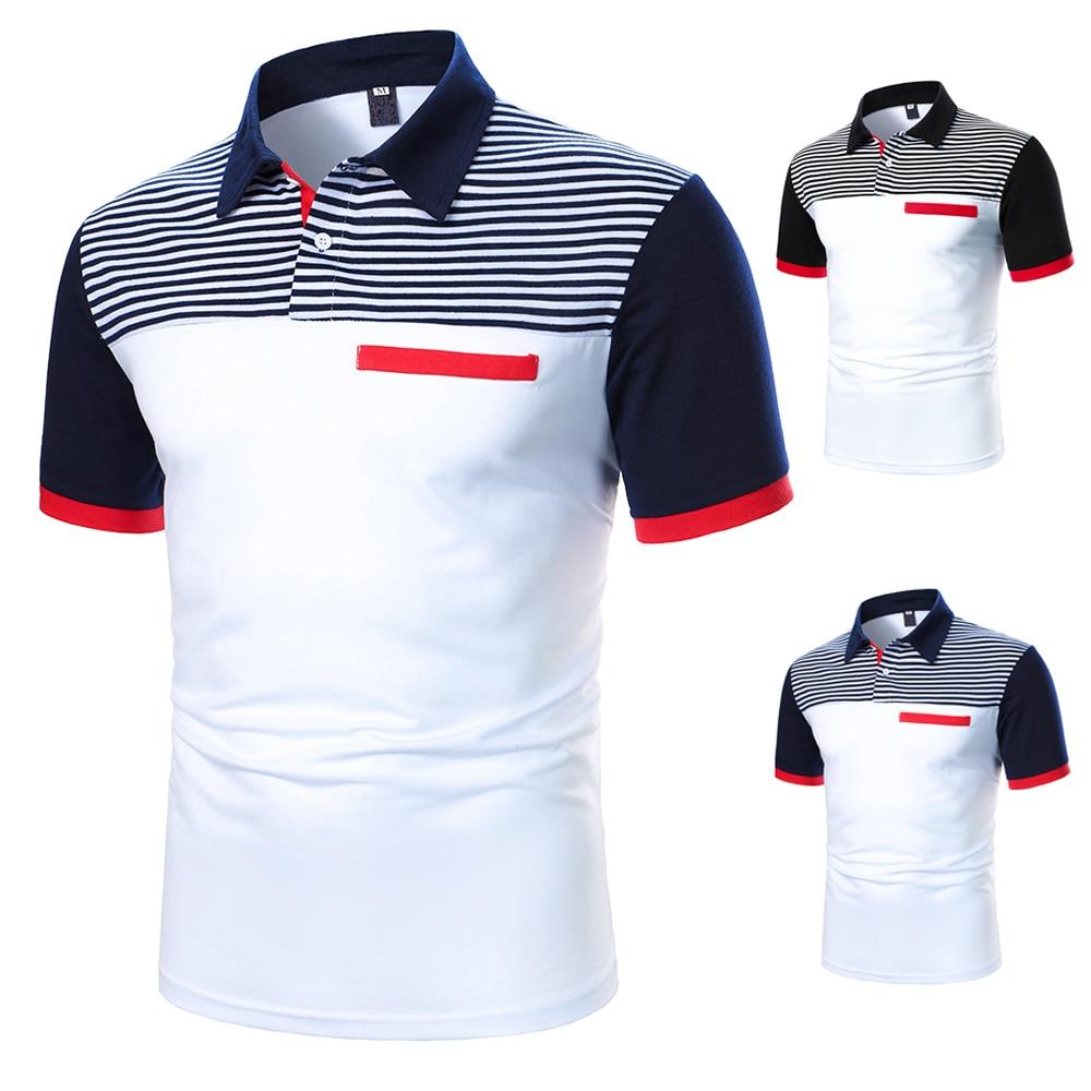Men Polo Men Shirt Short Sleeve Polo Shirt Contrast Color Polo New Clothing Summer Streetwear Casual Fashion Men Tops 3