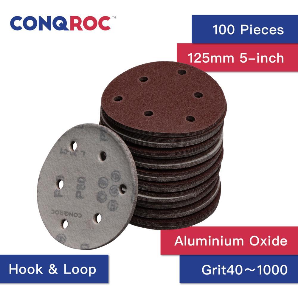 100 pièces 5 pouces 125mm disques abrasifs 6 trous crochet boucle papier abrasif grain 40 ~ 2000 papier de verre travail du bois abrasif outil