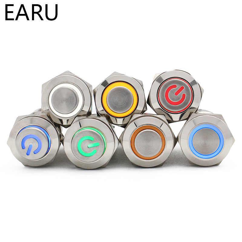 12mm plat haute tête étanche en métal bouton-poussoir interrupteur lumière LED momentané verrouillage voiture moteur PC interrupteur 3-380V rouge bleu