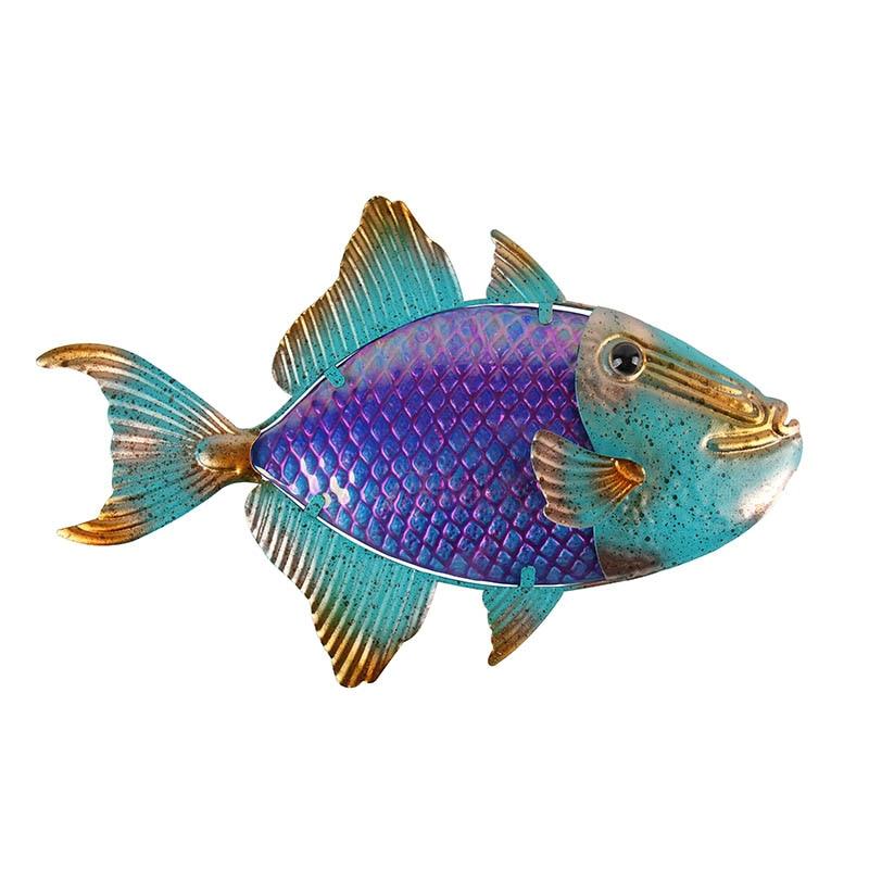 Металл рыба стена произведения искусства для сада украшения на открытом воздухе фея с стеклом рыбой для сада статуи и миниатюры сада скульптуры
