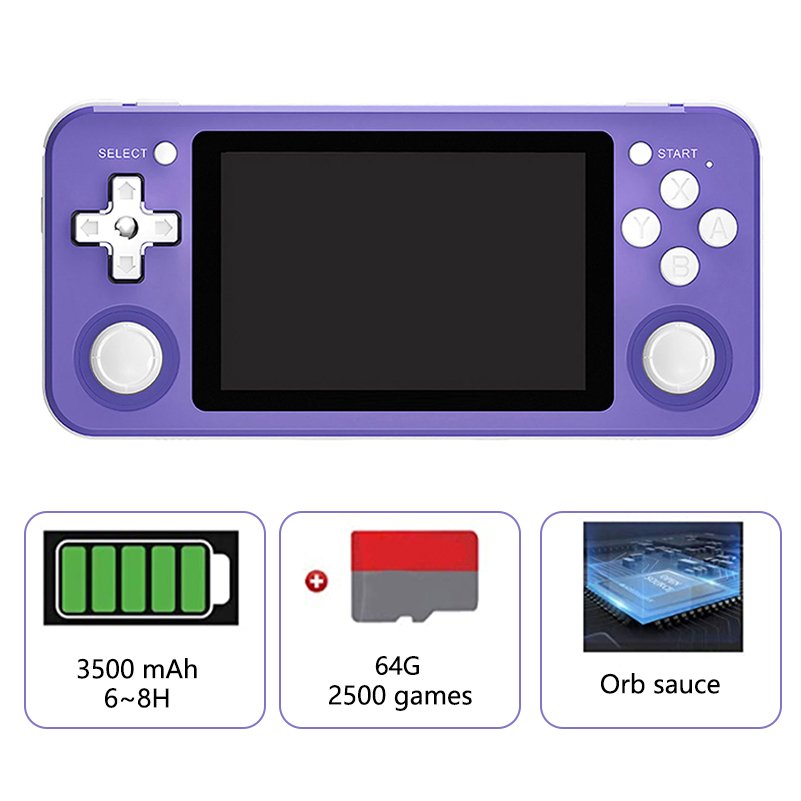 RG351P Retro Game Console RK3326 Linux System PS1 Game Player Portable Pocket RG351 Handheld Game Console With 64G 2500 Games