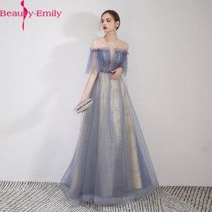 Image 1 - יופי אמילי סקופ שרוולים ערב שמלות 2019 מקסים תחרה למעלה חזור Robe דה Soiree שמפניה ארוך שמלת ערב