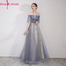 뷰티 에밀리 스쿠프 민소매 이브닝 드레스 2019 챠밍 레이스 업 로브 드 소이어 샴페인 롱 이브닝 드레스