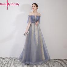 ความงาม Emily Scoop ชุดราตรีชุด 2019 Charming Lace Up กลับ Robe De Soiree แชมเปญชุดราตรียาว