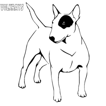 Volkrays Personality Car Sticker English Bull Terrier Dog Endearing Accessories Reflective Vinyl Decal Black/Silver,15cm*10cm image