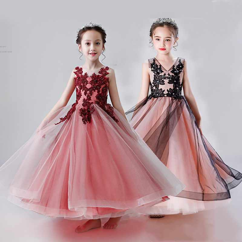 チュールガール服初聖体のドレス優雅なウェディングパーティードレス子供衣装レースブライドフォーマルガウン