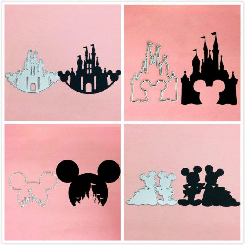 Mickey Minnie Head Frame Castle Metal Cut Dies Stencils For Scrapbooking Stamp/photo Album Decorative Embossing DIY Paper Cards
