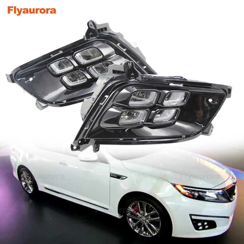 Car Flashing LED Daytime Running Light DRL Day Lights Fog Lamp For KIA Optima K5 2014~2015 Fog Lamp Cover Daytime Running Lights