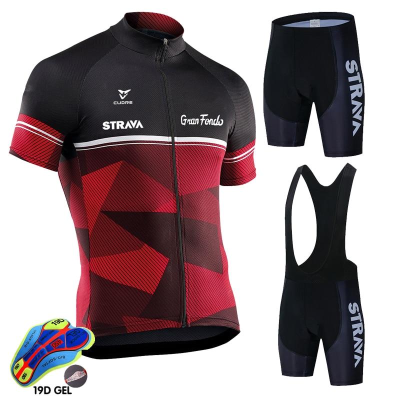 Summer Pro Cycling Jersey Set Racing Bicycle Clothing Man Maillot Ropa Ciclismo MTB Bike Clothing Sportswear STRAVA Cycling Set