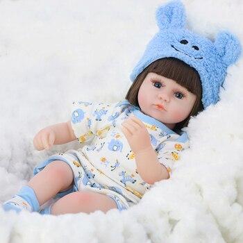 42CM Cute Reborn Baby Doll Toy Realistic Soft Silicone Reborn Babies Alive Bebe Cloth Body Reborn Boneca Doll Toys For Children warkings reborn