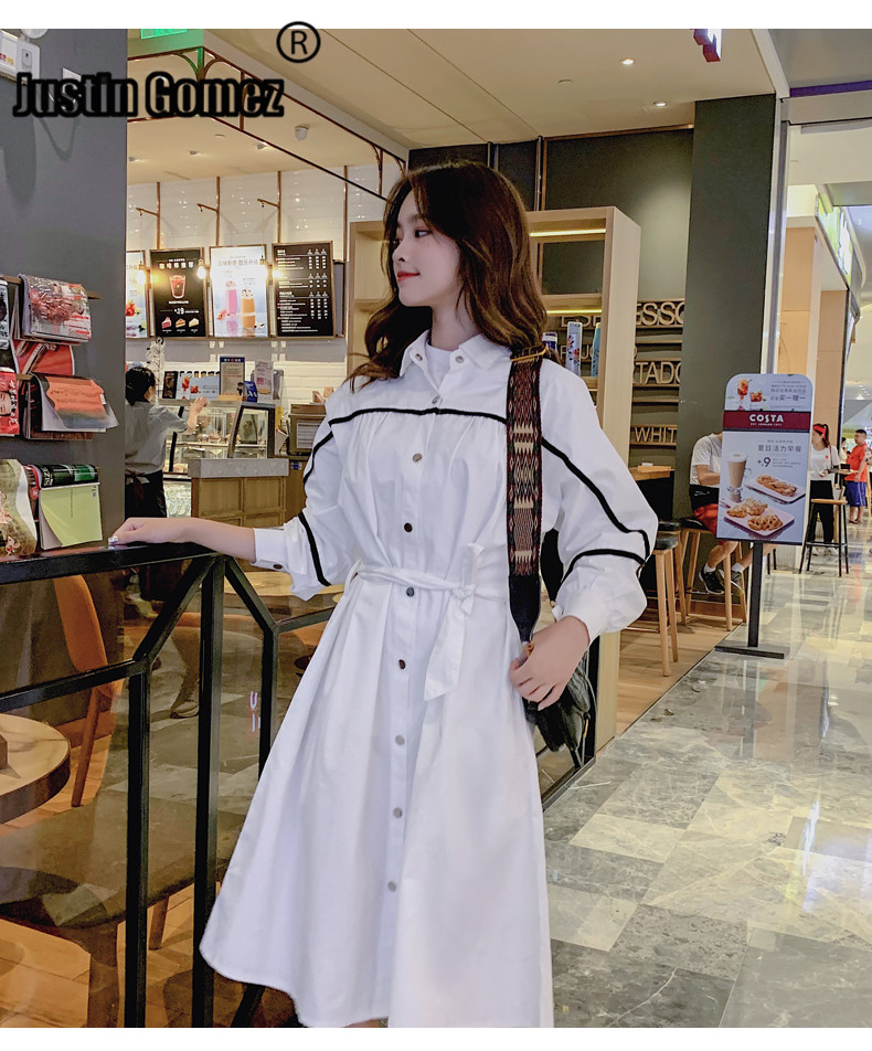 Fall New Shirt Style Long Casual Thin   Trench   Coat Belt Single-breasted Cotton Korean Style Women Outerwear Women's Windbreaker