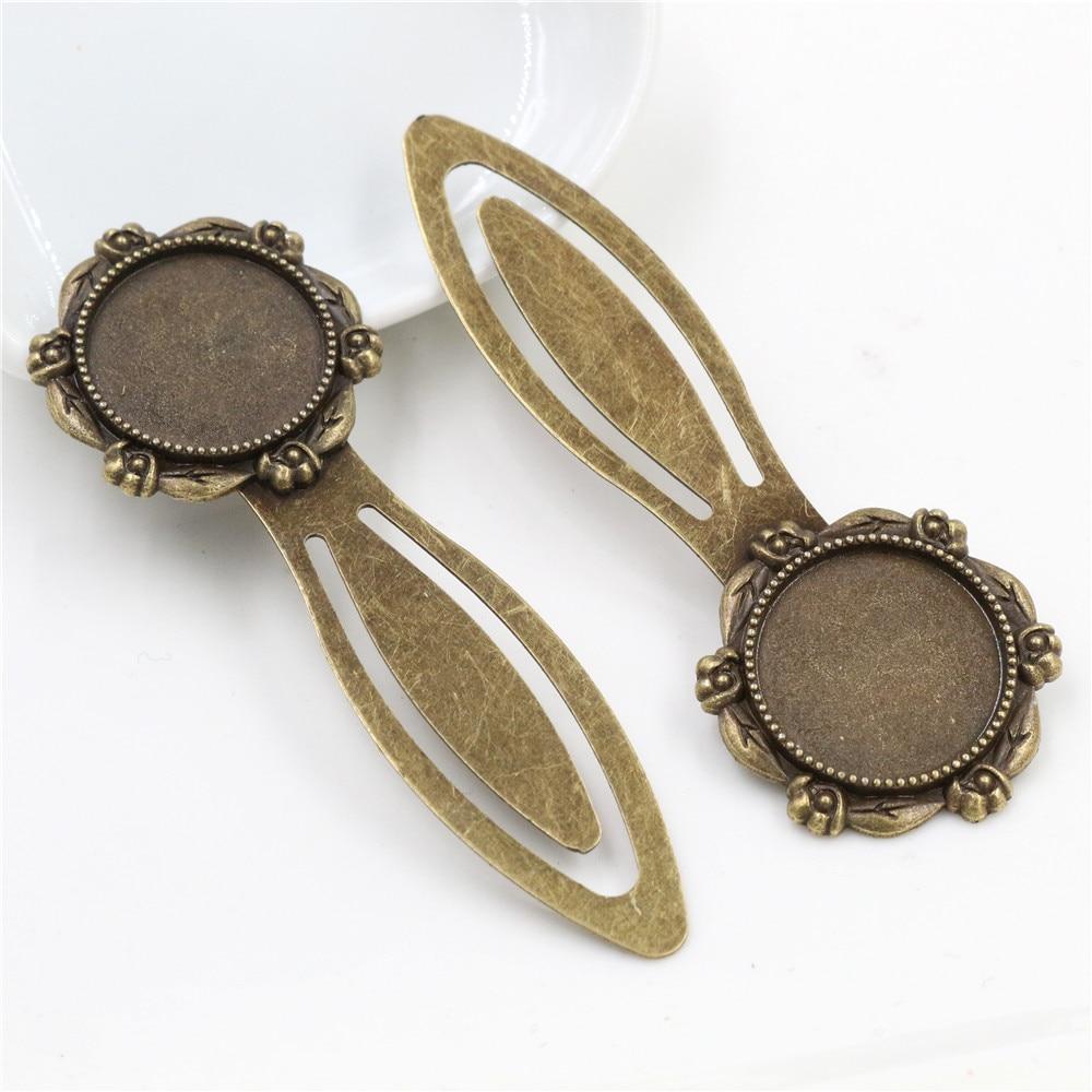 New Fashion 2pcs 20mm Inner Size Antique Bronze Vintage Style Handmade Bookmark Cabochon Base  Cameo Setting (I1-23)