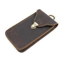 Monedero de cuero genuino simple moda llave caso orgnizador cintura colgante cinturón teléfono móvil bolsa crazy horse cuero retro cartera