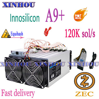 Used Innosilicon A9+ ZMaster 120k sol/s With PSU Equihash Asic Miner Zcash  ZEC BTG Mining Better Than Antminer Z9 mini S9 B7 T3