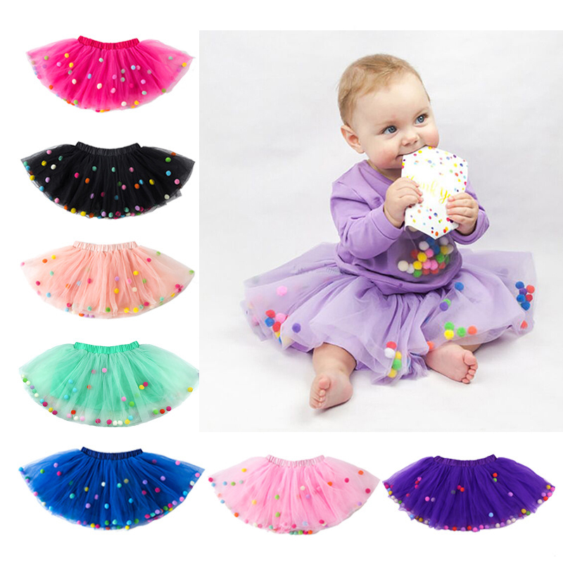 2021 Summer Baby Multilayer Tulle Tutu Skirt Colorful Pom Pom Princess Mini Dress Children Clothing Pettiskirt Girl Clothes 1
