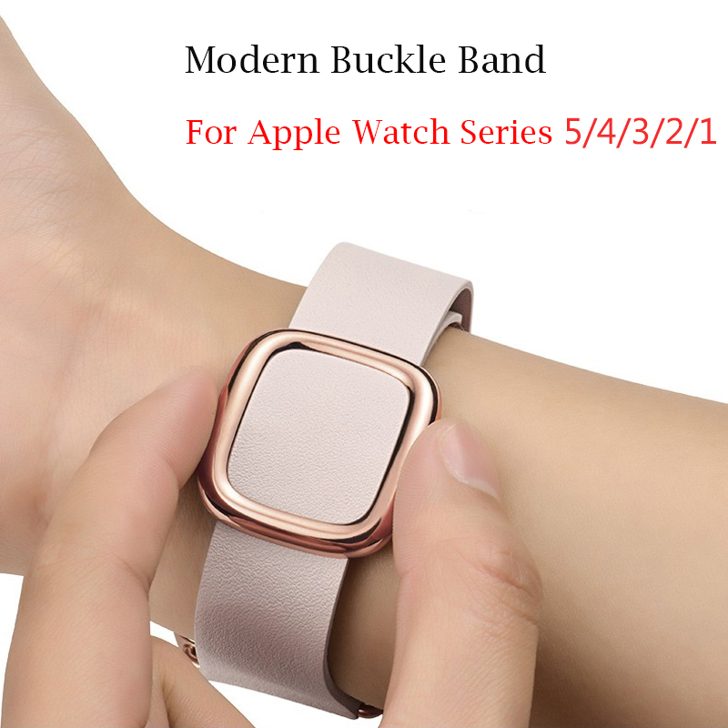 Leather Loop Bracelet Modern Buckle Band For Apple Watch Series 5 4 40mm/44mm Bracelet Strap For IWatch Series 3/2/1 38mm/42mm