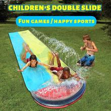 Double Water Slide Mat Inflatable Surfboard Summer Waterskiing Splash Play Gift Outdoor Lawn Water Jet Bed Games Sports Toys