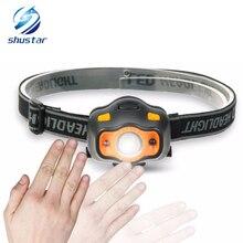 лучшая цена MINI LED Headlamp With Sensor 3 Lighting modes Waterproof LED Headlight Use 3 AAA batteries For camping, fishing, running
