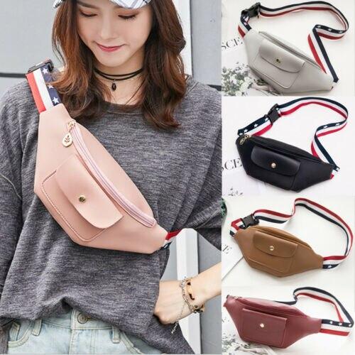 Fashion Hot Sale Stylish Waist Packs Purse Wallet Unisex Leather Mini Waist Belt Bumbags Pouch Cell Phone Bag  Women