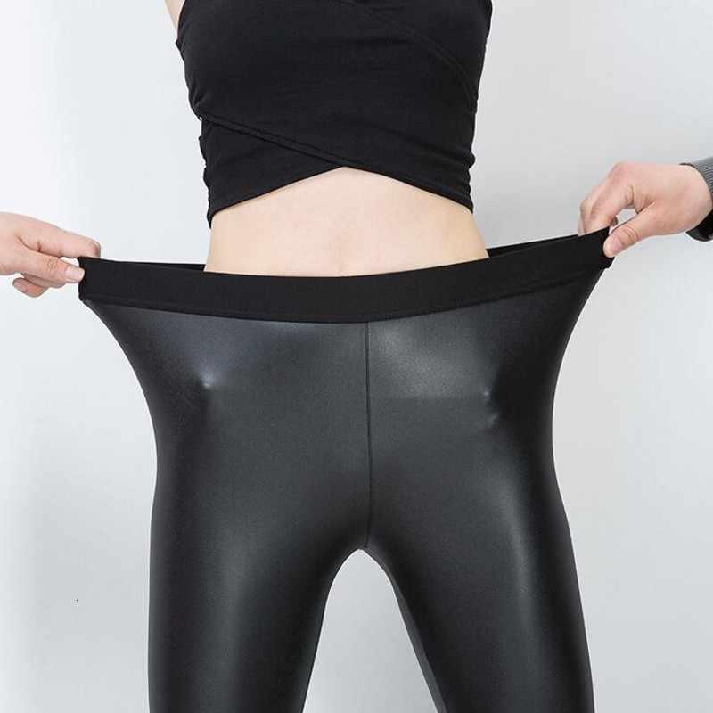 Kış yeni moda ofis bayan sıska bayan uzun pantolon kadın pantolon yüksek bel Pu deri Slim Fit sıkı siyah pantolon