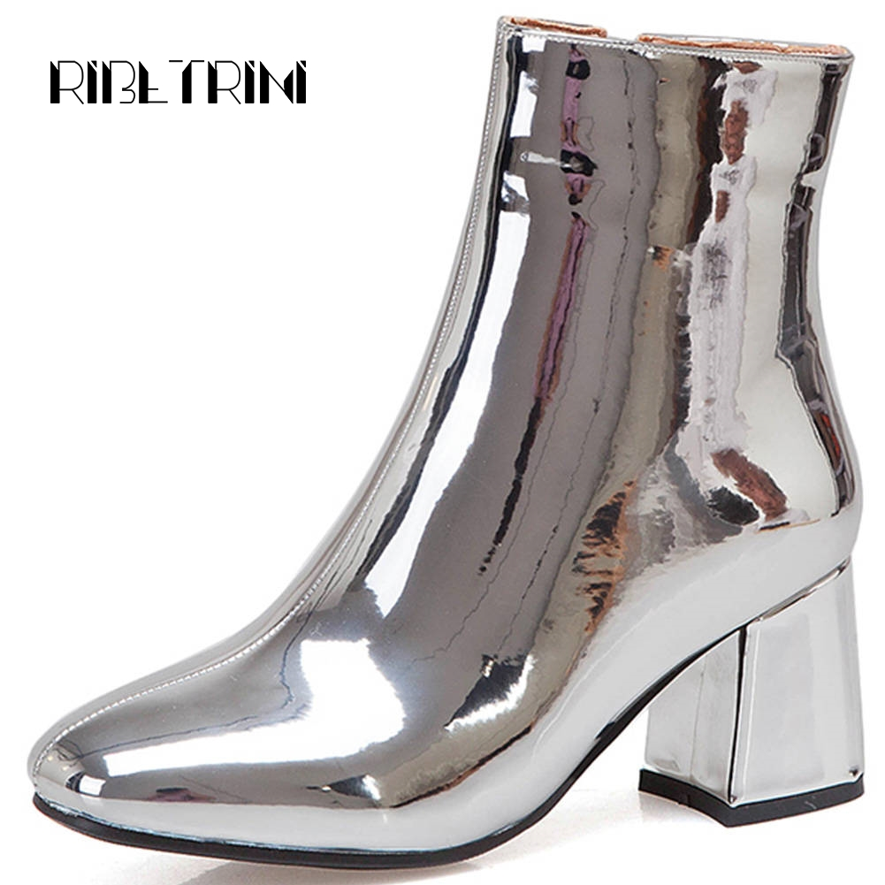 Ritrahini femmes haut bottines 2019 Vintage Chunky talons bout rond moins plate-forme chaussures femme Zipper moto bottes