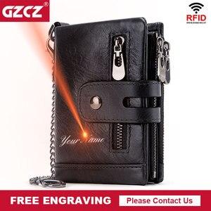 Image 1 - Кошелек GZCZ мужской из натуральной кожи с Rfid защитой, маленький бумажник с монетницей, мини кредитница с цепочкой, портмоне для мужчин, без потерь, с бесплатной гравировкой