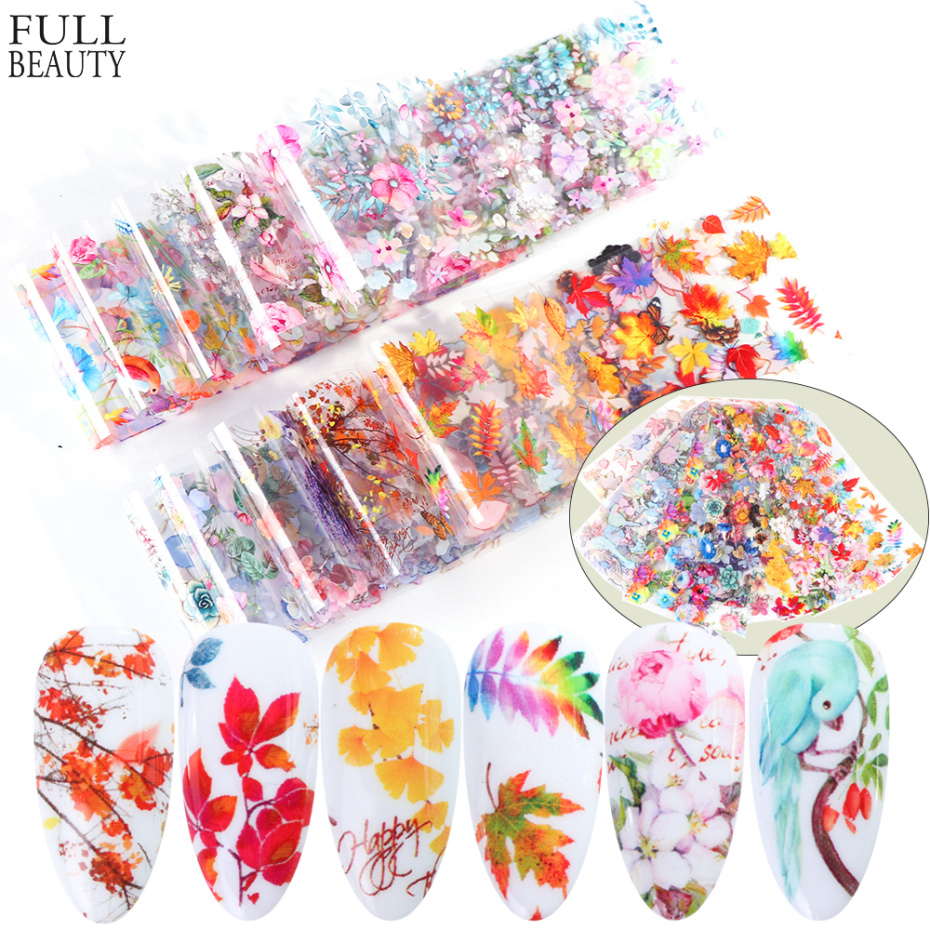 10pcs Flower Holographic Nail Foil Set Lavender Stickers For Nails Nail Art Transfer Sticker Manicure Tips Decoration CH19132
