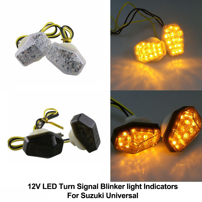 For Suzuki 12V Motorcycle LED Front/Rear Turn Signal Blinker Light Indicators Universal Bright Yellow Lamp Bike Left+Right/Set