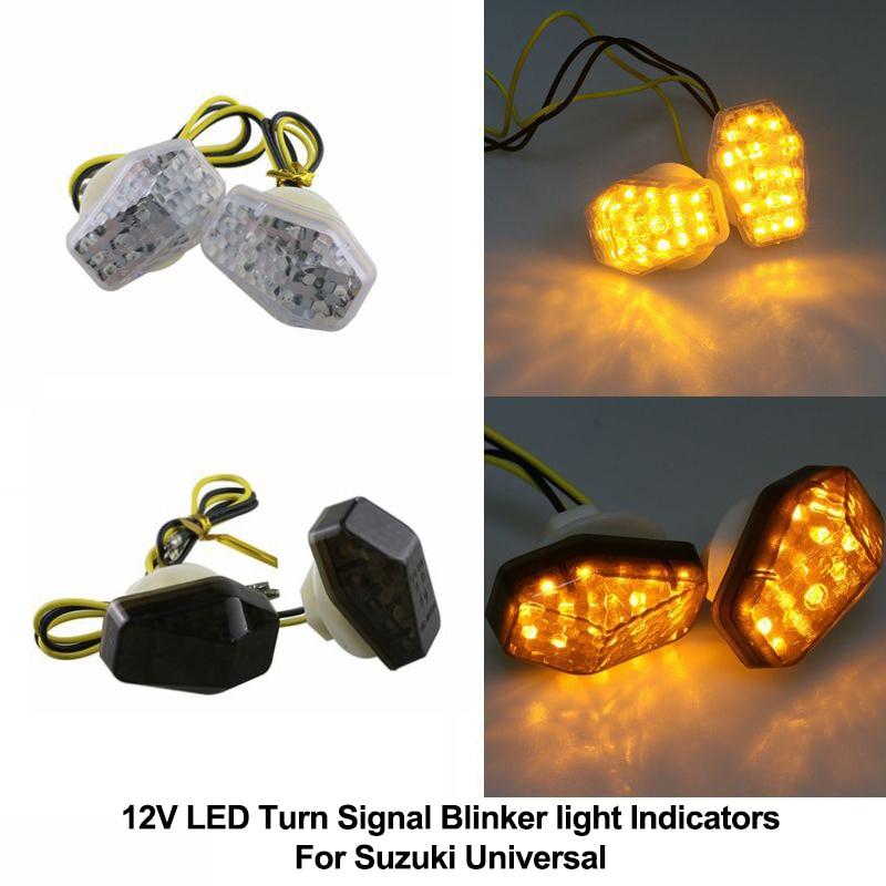 For Suzuki 12V Motorcycle LED Front/Rear Turn Signal Blinker Light Indicators Universal Bright Yellow Lamp Bike Left+Right/Set