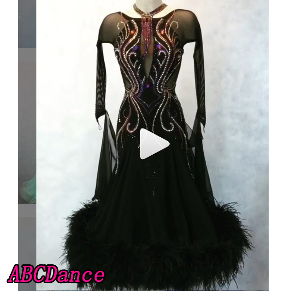 New Ballroom Dance Dress Long Sleeve Modern Tango Waltz Costumes Ostrich Feather Womens Sexy  Stretchy Mesh Sleeves