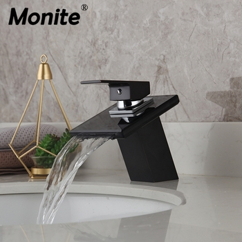 Monite ORB & Chrome Waterfall Bathroom Faucet Black Glass Deck Mounted Solid Brass Wash Basin Sink Vessel Tap Mixer Faucet 1