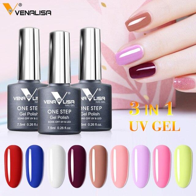 3 in 1 UV Gel Polish One Step Gel Lacquer VENALISA Soak off Organic UV LED Nail Gel Varnish Nail Art Salon New Arrival Varnish 2