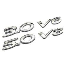 2Pcs/Set 3D 3.0 V6 5.0 V8 Logo Sticker Emblem Badge Decals For Jaguar XJ XJL XF XE Car Styling