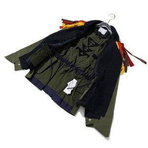 Image 5 - [Eam] ビッグサイズストライプコントラスト色柄プリントジャケット新ラペルリボンルーズフィット女性のコートのファッション春秋2020 JZ521