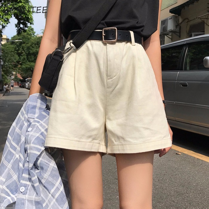 Shorts Women Trendy New 2020 Students All-match Simple Leisure High Waist High-quality Daily Elegant Lovely Womens Female Pocket